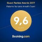BOOKING.COM AWARD 2017 - A fantastic score (9.6) for Palazzo Suriano Amalfi Coast