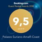BOOKING.COM AWARD 2018 - A fantastic score (9.5) for Palazzo Suriano Amalfi Coast